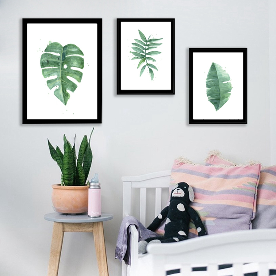 Watercolor Green Plants Monstera Nature Posters And Prints: Watercolor Tropical Plant Leaves Canvas Art Print Poster