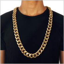 Embossed Thick Scrub Style Necklace Hip Hop Simple Gold Silver Aluminum Chain Exaggerated Big for Mens