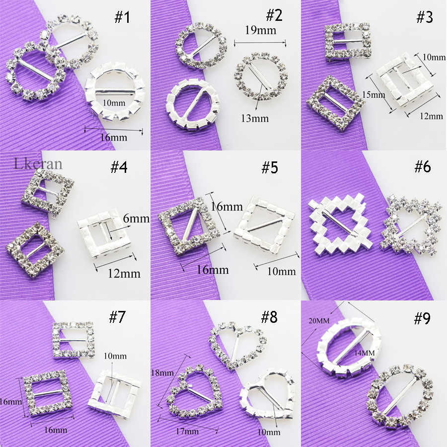 High quality! 10pcs/Set Variety Rhinestone Buckles Wedding Invitation card Decoration DIY Hair Accessories Free Shipping
