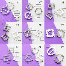 2017 preferential 10pcs/pack wholesale Round 16mm slide buckles DIY hair accessory Wedding Initiation Ribbon Crystal Decoration