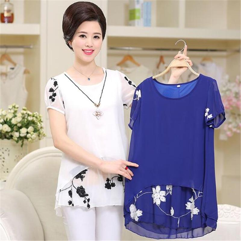 Elegantes Blusas Para Femenino Tops white 2018 Black Verano Moda Gasa Más Edad K0262 Mujeres De Tamaño Suelto pink blue Impresión Mediana Camisas La TPZBZnwI7