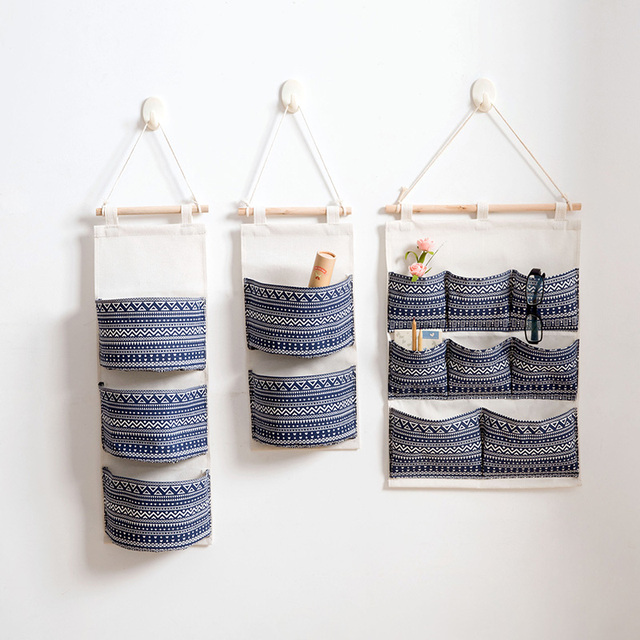 1pcs Bohemian Cotton Linen Storage Bag Multi Y Hanging Bags Waterproof Wall Mounted