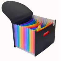 1 pcs Expanding File Folder 13 Pockets, black Accordion A4 folder Document Bag Office School Supply