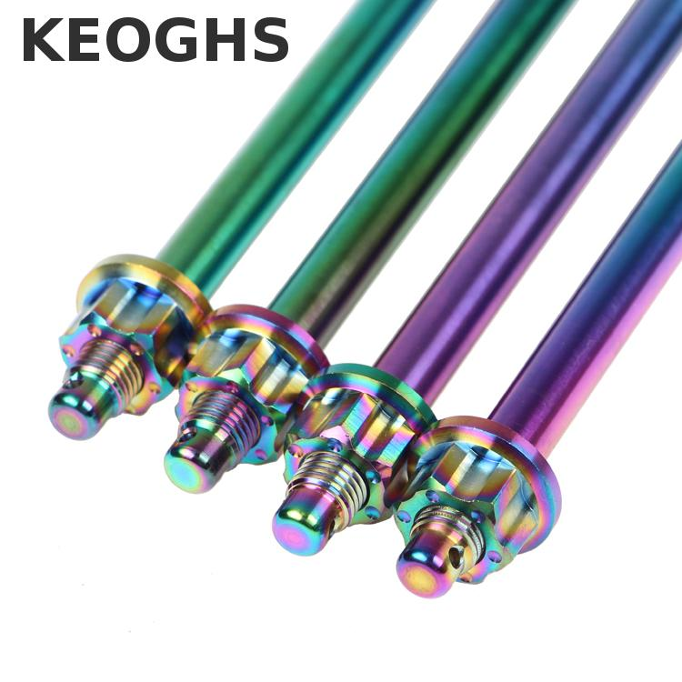 Keoghs Motorcycle Wheel Rim Axle 12mm*290mm Both Side Nuts Colorful Stainless Steel For Honda Yamaha Kawasaki Suzuki Scooter stainless steel axle sleeve china shen zhen city cnc machine manufacture