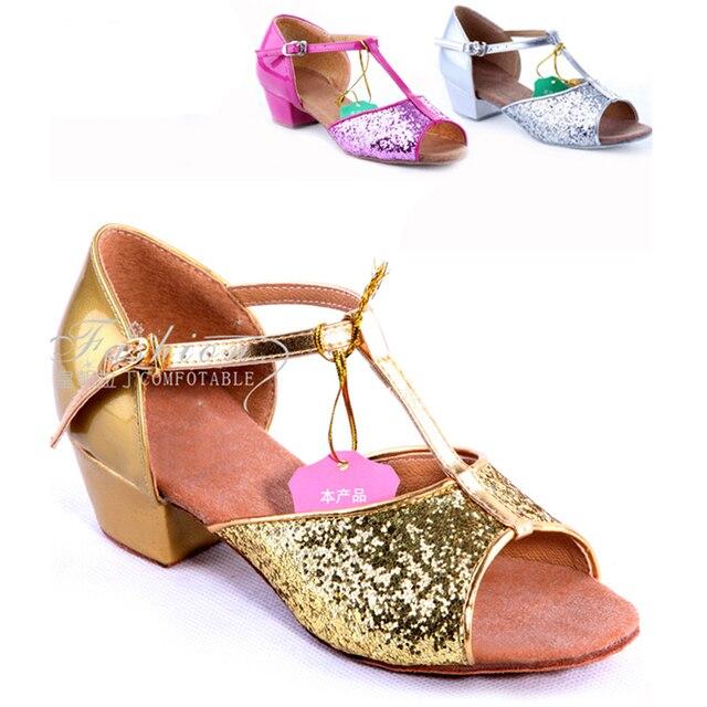 017c1eb84e 2016 chegada nova da menina brilho sandálias de verão crianças suave Sole  sapatos de dança latina