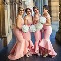 2017 sexy largo vestidos de dama de melocotón de color rosa con cuello en v sirena vestidos de invitados para la fiesta de boda vestidos formales miad de honor vestidos
