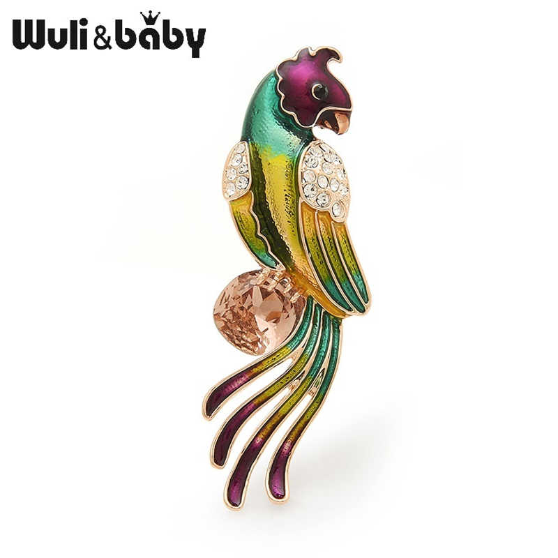 Wuli Bayi Ceko Payudara Besar Zirkon Parrot Bros Wanita Pria Enamel Burung Pernikahan Bros Pin Ibu Hadiah