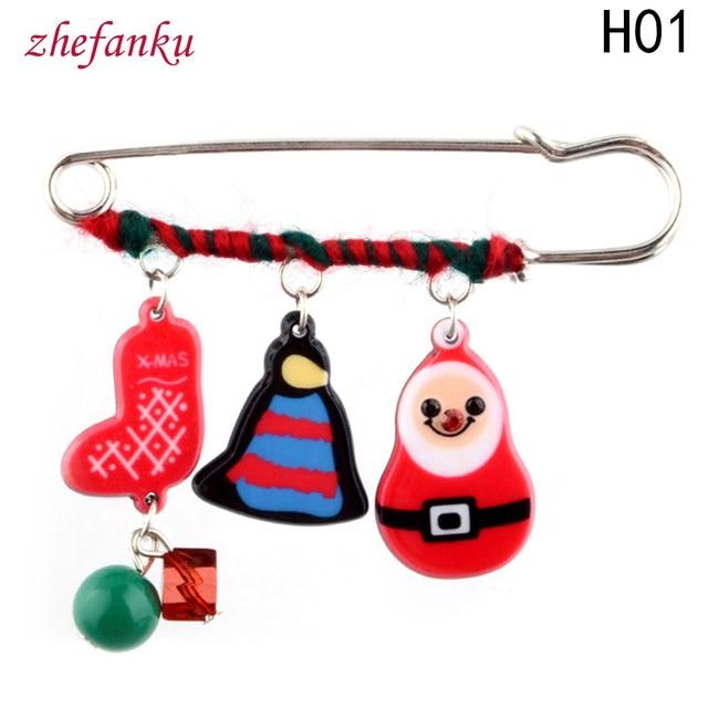 2017 Brooch Pins Chain Santa Claus Charm Pendants Christmas Bell Gift Sugar Stick Drop Men Women Jewelry Year Trend