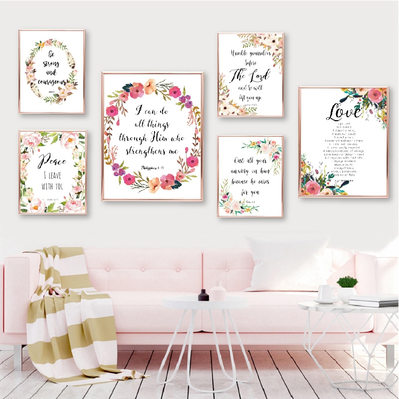 Posters and Prints Bible Verse Canvas Painting Poster Christian Wall Art Watercolor Flowers Pictures for Living Room Home Decor image