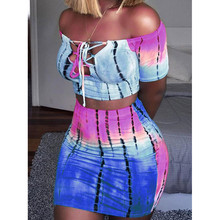 Sexy Two Piece Set Summer 2019 Woman Club Off Shoulder Outfi