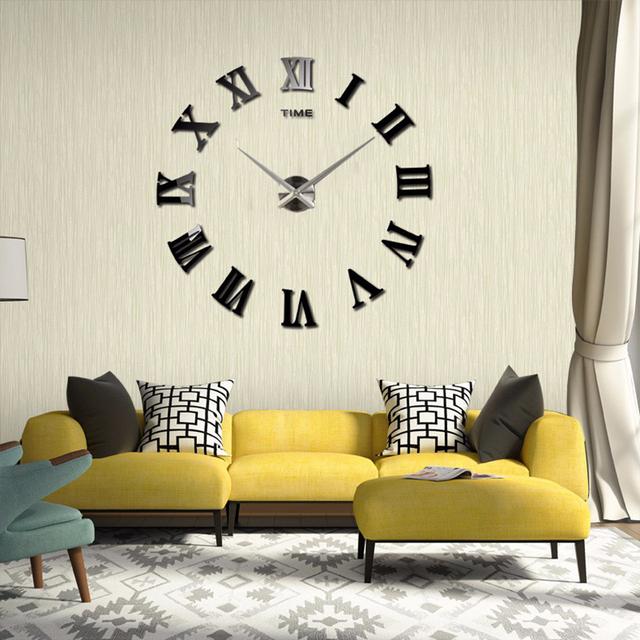 2017 New Fashion Big Size Wall Clock Mirror Sticker  Wall Clocks Home Decoration Wall Clocks  Room Wall Watch Free Shipping