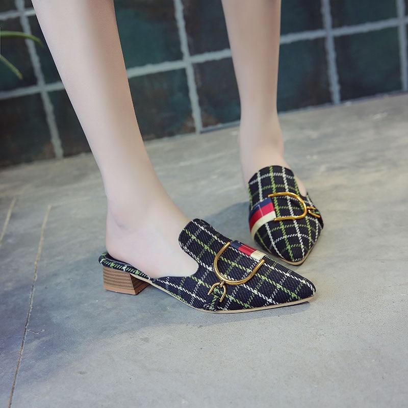 Appartements Chaussures Casual 2018 rouge Pour Treillis Beige Design Sapatos Métal Mujer Kjstyrka noir Véritable Femme En Brand Bande Mode Femmes IdOqwvHw