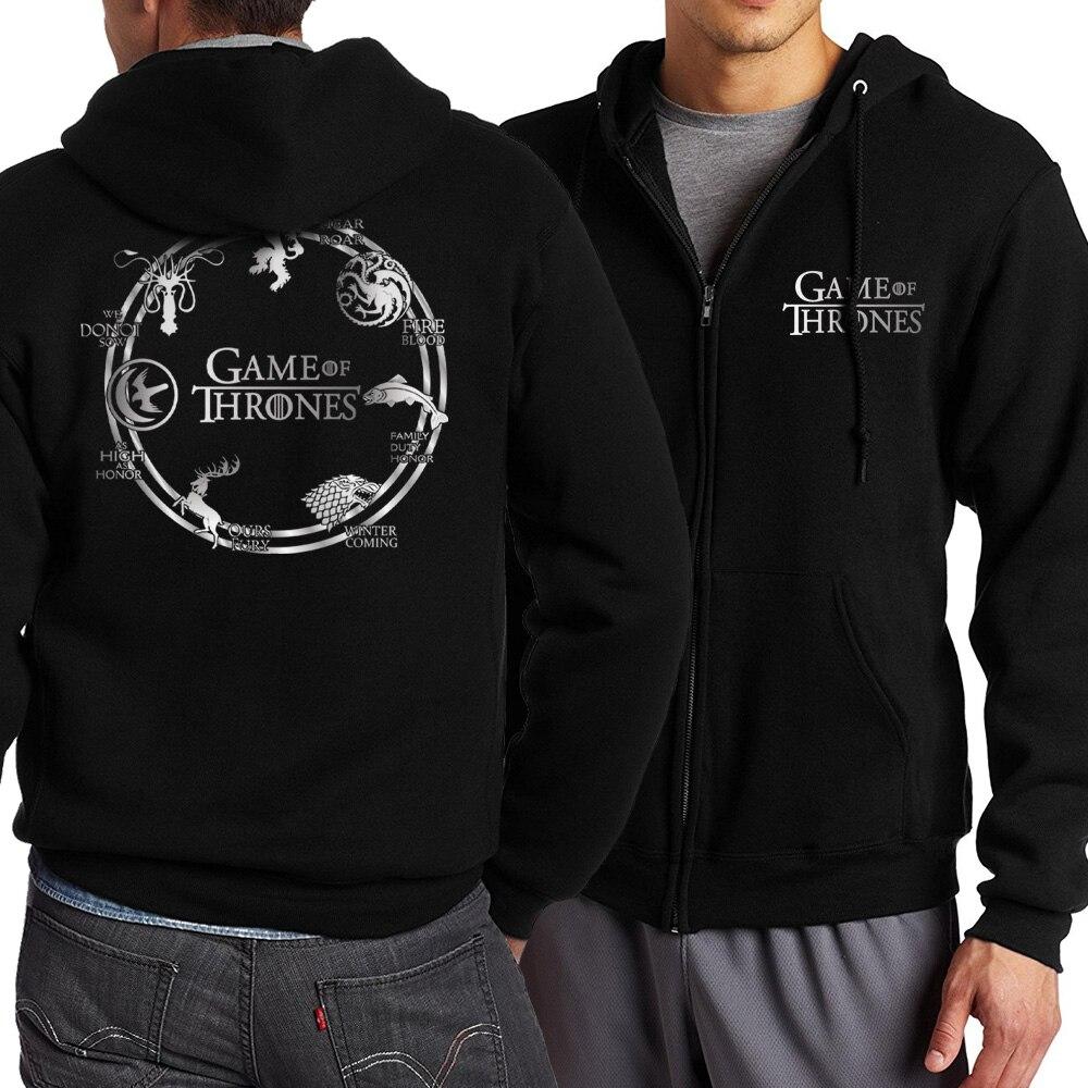 Game of Thrones Zipper Dragon Wolf Cool Printing Zipper Hoodies Hoodie Man Fleece Warm Spring Autumn Tracksuit Casual Sportswear 8