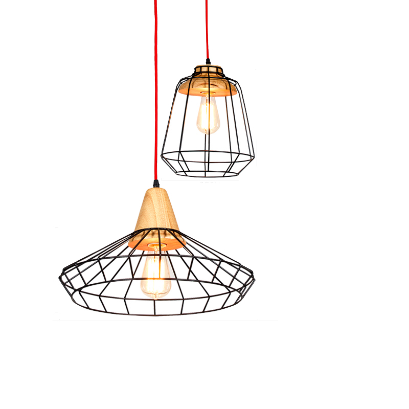 Retro mesh pendant light Nordic creative iron wood art lamp bar bedroom living room coffee shop restaurant lights chinese style classical wooden sheepskin pendant light living room lights bedroom lamp restaurant lamp restaurant lights