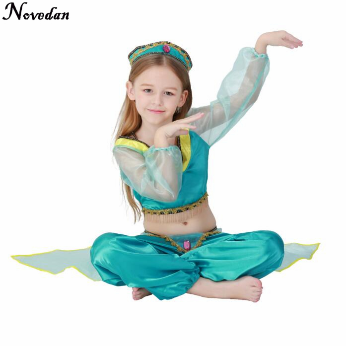Lower Price with Cos Girls Aladdins Lamp Jasmine Princess Costumes For Children Halloween Party Belly Dance Dress Indian Princess Birthday Gift Stage & Dance Wear Latin