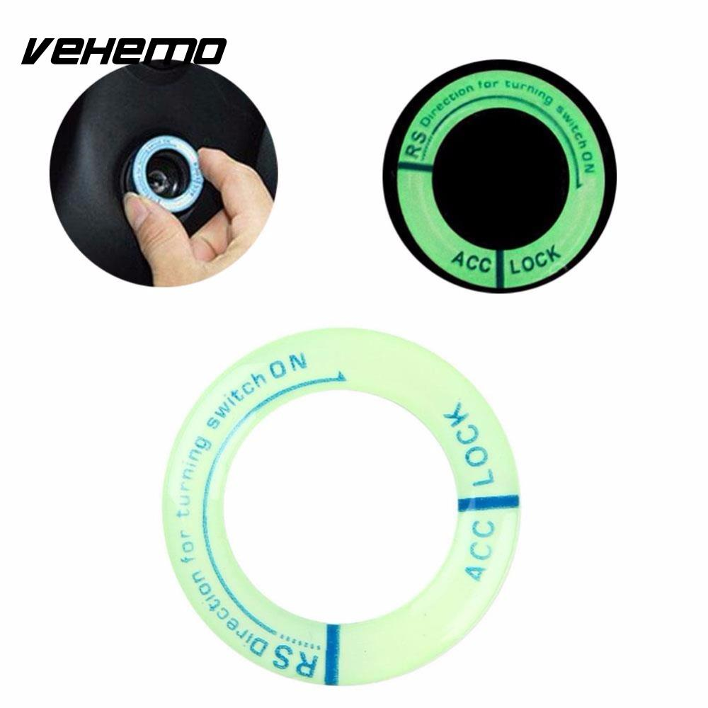 LED Luminous Car Ignition Switch Decoration Stickers Key Hole Key Ring Coil Protective Sticker For Ford Chevrolet Mazda Toyota