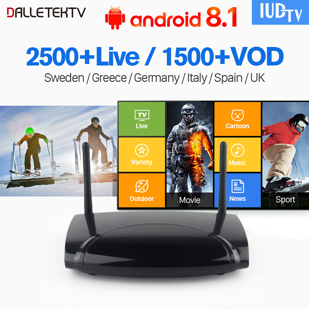 IPTV Europe Box Android 8.1 IUDTV TV Receiver 1 Year Subscription IPTV Sweden UK Italy Germany Spain Portugal Turkey IP TV