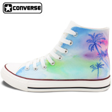 Hand Painted Shoes Men Women Converse All Star Design Coconut Palm Tree Colorful High Top Canvas Sneakers