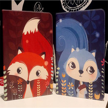 New arrive cartoon cute squirrel fox pattern leather cover for ipad new 2017 A1822 A1823 brand quality tablet case with sleep
