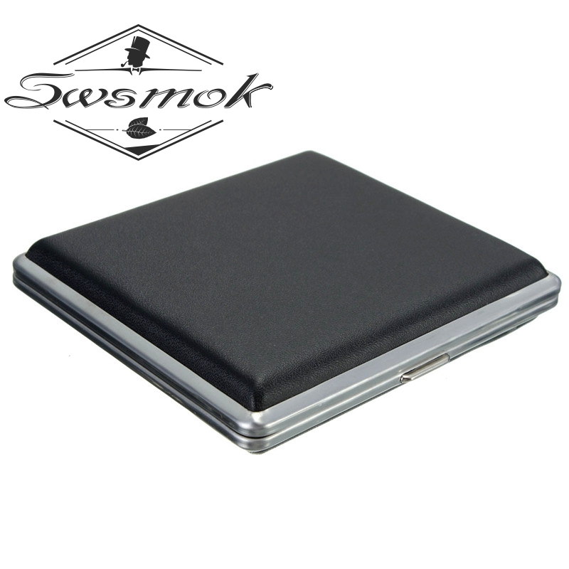 Delicate Gift Cigarette Box Case Black Pocket-leather Metal Tobacco For 20pcs Personal Cigarette Smoke Holder Storage Case