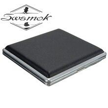 Изысканный Подарочный чехол для сигареты, Черный Карманный кожаный металлический табачный чехол для 20 штук, персональный держатель для сиг...