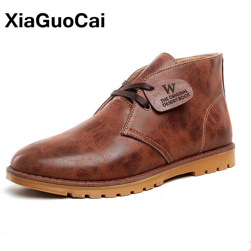 XiaGuoCai Spring Autumn Men Desert Boots Lace Up PU Leather Shoes British Fashion Ankle Tooling Boots For Male men suede genuine leather boots men vintage ankle boot shoes lace up casual spring autumn mens shoes 2017 new fashion