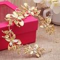 Luxury gold leaves butterfly flower rhinestone pearl headband women elegant unique tiaras headwear bridal hair accessory jewelry