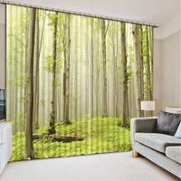 The Window Decoration Curtains Green Forest Landscape Blackout Curtains For The Living Room Bedroom Cotton Drapes