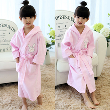 Hooded Bathrobe Kids 100% Cotton Child Girls Robe Summer Lovely Bath Robes Dressing Gown Kids Sleepwear with Belts Retail