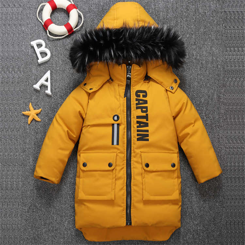 2018 new winter children's clothing children's boy cotton padded warm down jacket in the big boy baby long coat coat цена