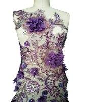 Big 3D Three dimensional flower sew on Purple lace applique rhinestones trim patches for dress 82*55cm