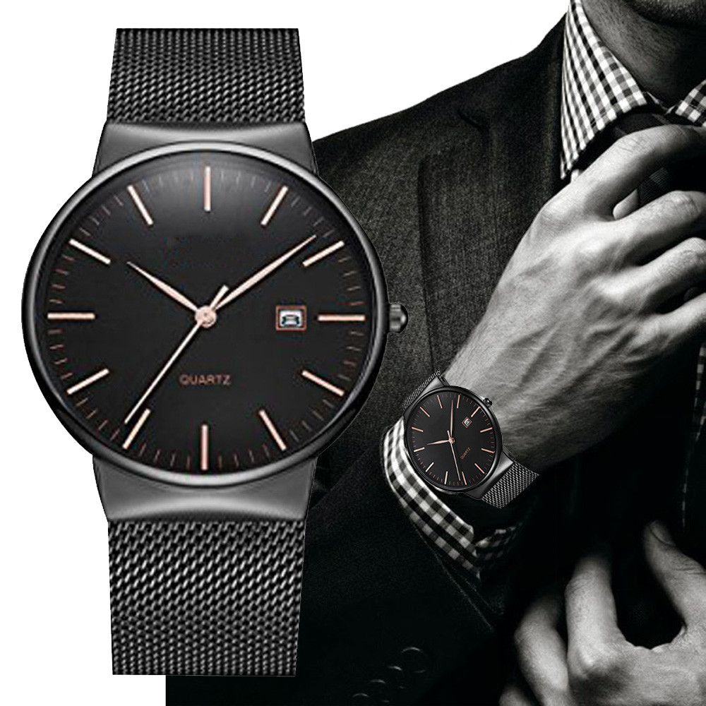 Simple Men's Black Watch Luxury Stainless Steel Mesh Band Quartz Wrist Watches Classic Business Clock Relogio Masculino #LH kevin simple style elegant mesh stainless steel band strap quartz wrist watch men women watches neuter clock hours gift relogio