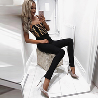 High Quality Sleeveless Sexy Bandage Jumpsuit Women Rompers Club Backless Overalls Long Pants Celebrity Evening Party