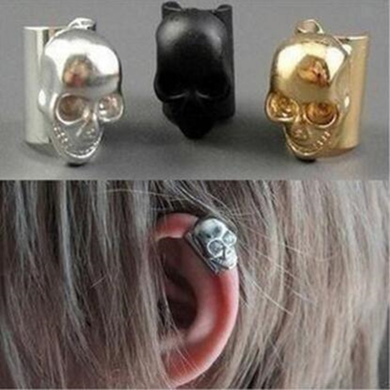 New style punk skull earrings ear bone folder ear bone earrings for women man free shipping jewelry wholesale