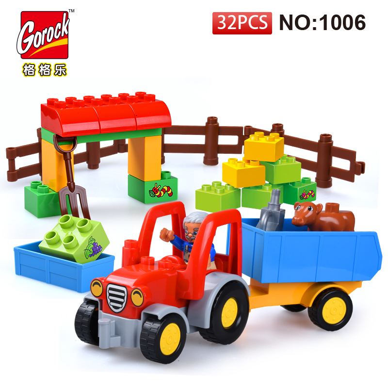 GOROCK 1006 Big Building Block Set children Educational Bricks Toys 32Pcs For Birthday Gifts Toy For Baby Compatible With Duploe