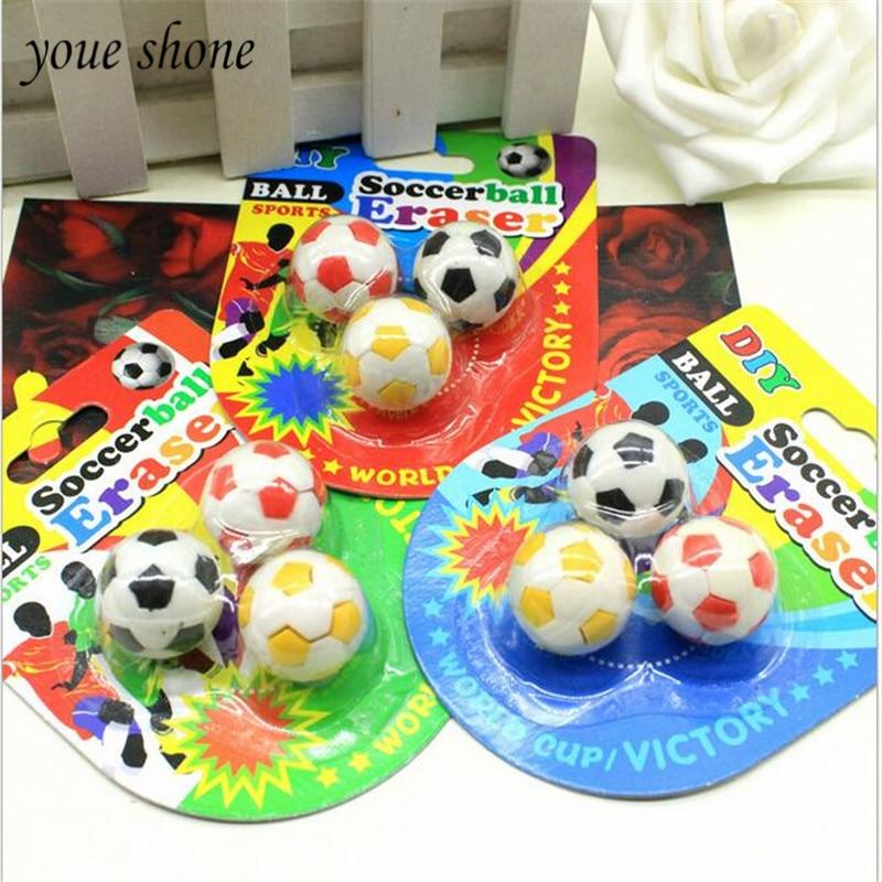 YOUE SHONE 1 Pcs = 3 Piece Of Creative Football Styling Pencil EraserCartoon Mini Erasers Set Childrens Stationery Prizes