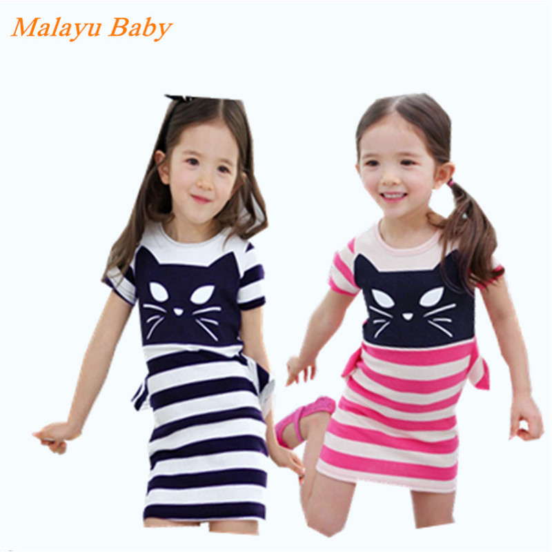 Clearance Malayu Baby Europe new summer dress girl kitty printed cotton striped dress fake two for 2-6-year-old girl