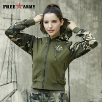 Freearmy Fall 2018 Women Streetwear Hoodie Camo Hood+Sleeve Women's Zipper Sweatshirts Autumn Military Female Hoodies Plus Size