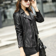 Женская кожаная куртка мотоциклетная кожаная куртка черная тонкая Высококачественная pu кожаная куртка Женское пальто Veste Cuir XXXL XXXXL XXXXXL