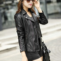 2015 New Ladies Motorcycle Leather Jacket Black Slim High Quality PU Plus Size XXXXL XXXXXL Women Coat Veste Cuir