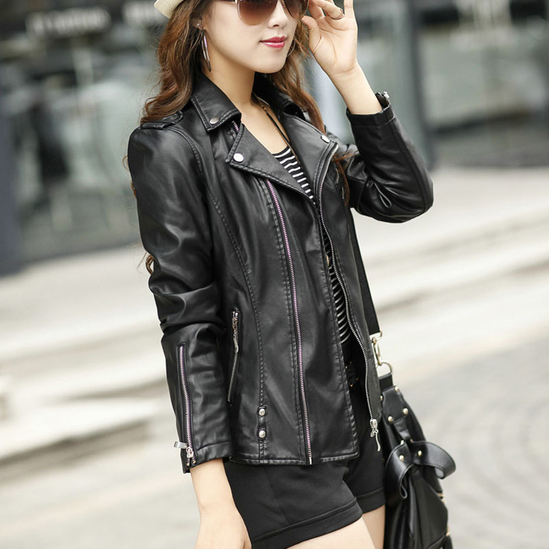 Women Leather Jacket Motorcycle Leather Jacket Black Slim High Quality PU Leather Jacket Women Coat Veste