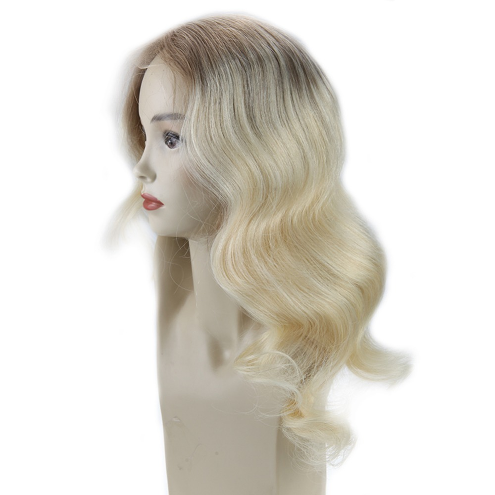 Full Shine Balayage Lace Front Hair Wig Ombre Color 6Fading To 613 Blonde Machine Remy Human Hair Lace Front Wig With Baby Hair