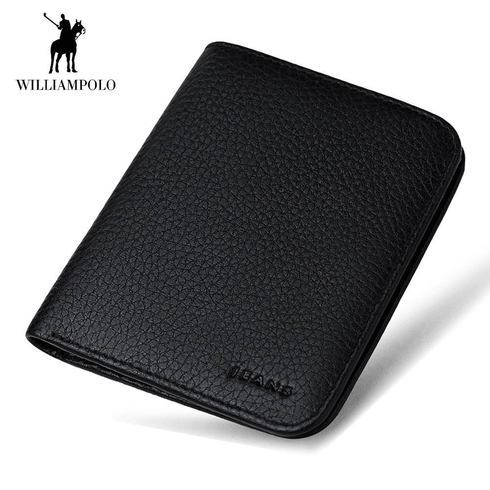 b0758d3264 WilliamPOLO New Brand Men Wallets Short Slim Bifold Clutch Bag Genuine  Leather Purse Mini Credit Card Holder Male Pocket Purse-in Wallets from  Luggage ...
