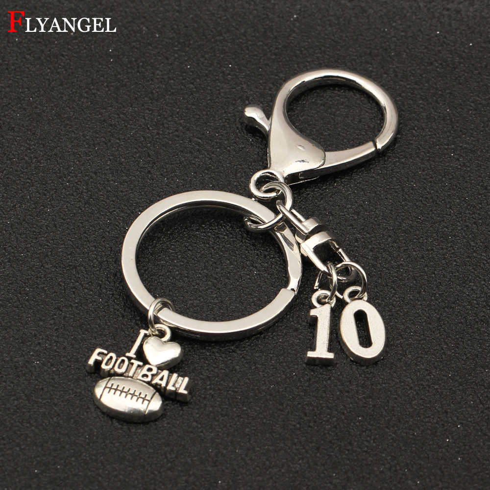Custom Numbers Keyring Love Football Pendant Keychain Select Your Favorite  Ball Player Numbers Women Men Ball cc25d7ce3b