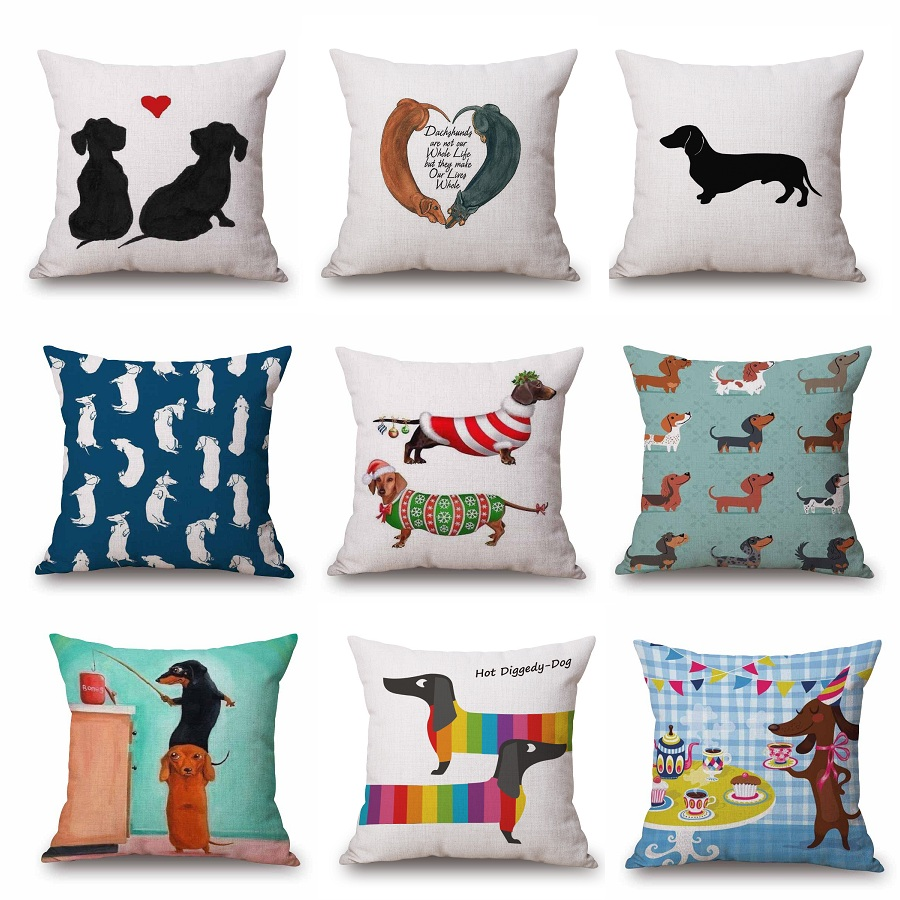 online get cheap dachshund pillow case aliexpresscom  alibaba group - dachshund cushion covers cartoon paint sausage dog pillow cases xcmbedroom sofa decoration g