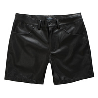 Hot Sale New 2014 Velutluna Male Leather Shorts All Match Personality Straight Casual Leather Shorts