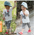 Boy suit children clothing sets letter striped short-sleeved t-shirts +pants two-piece sets