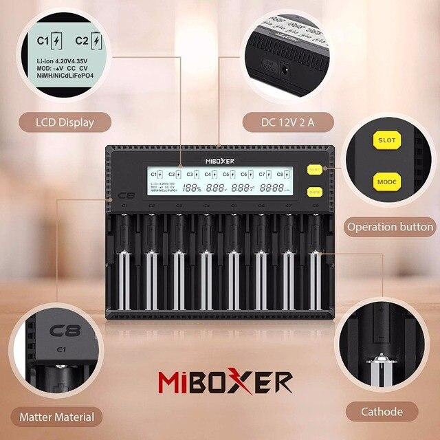 MiBOXER C4 C8 18650 Batterij Lader LCD Display 1.5A voor Li-Ion LiFePO4 Mh Ni-Cd 21700 20700 26650 18350 17670 RCR123 18700