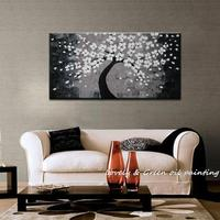 Hand Painted Black and white adornment floral tree abstract modern oil painting on canvas Home Decor Wall Art Home Decoration