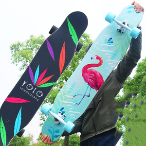 Image 3 - 4 ホイールカエデ完全なスケートダンスロングボードデッキダウンヒルドリフト道路ストリートスケートボードロングボード用アダルトユース